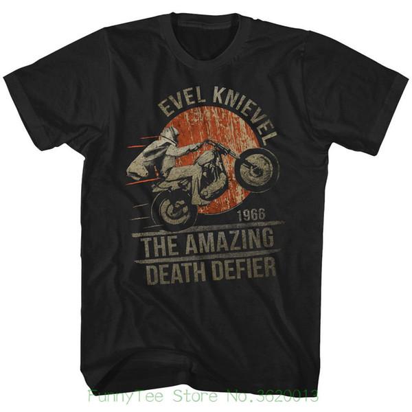 T-shirt Evel Knievel Mens Nova Defier Morte 100% Algodão Preto Em Tamanhos Sm - 5xl