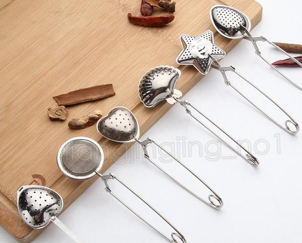 top popular 6styles Stainless Steel Tea Strainer Tea Spoon Seasoning Infuser Star Shell Oval Round Heart Shape Strainer Teaware DDA606 2019