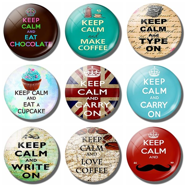 Keep Calm and Type on Fridge Magnet Keep Calm Style Cat Pet Glass Cabochon Magnetic Refrigerator Stickers Note Holder Home Decor