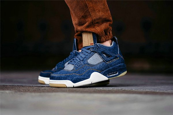New 4 4s Denim LS Jeans Travis IV Basketball Shoes Men Blue Jeans Sneakers High Quality With Shoes Box Size 7-12