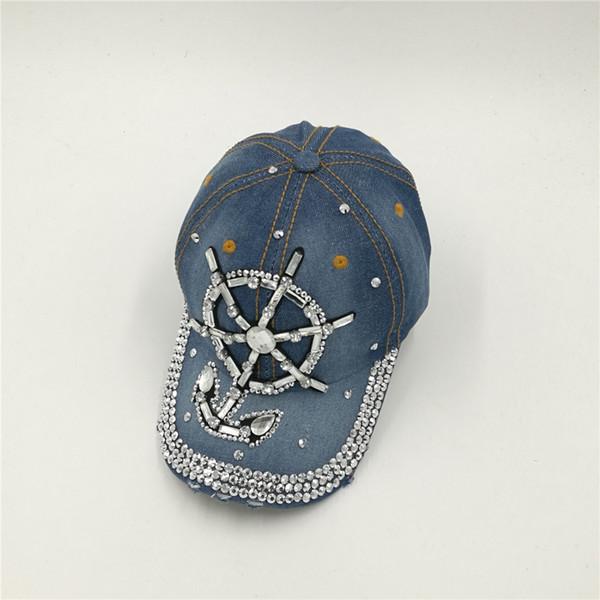 2016D56 customize OEM cotton bling bling Rhinestone man made diamond sea anchor hat denim baseball caps