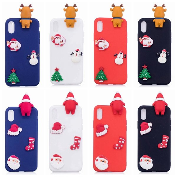3D Santa Claus Soft Silicon Case For Iphone XR XS MAX X 8 7 6 5 SE Galaxy Note 9 S9 Plus S8 Christmas Sock Tree Elk Snow Snowman Gift Cover