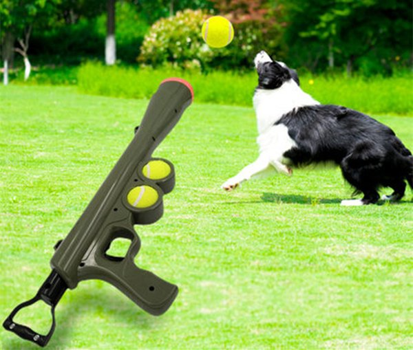 Free Shipping Pet Ball Dog Toy Funny Pet Dog Gun Toy Training Muzzle Catapult Incentive Tool Outdoor Toys Pet Treat Launcher mascotas Toys