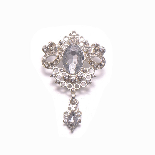 (S0333) 32mmx50mm vintage rhinestone brooch,with pin at back,silver or rose gold plating,with pin