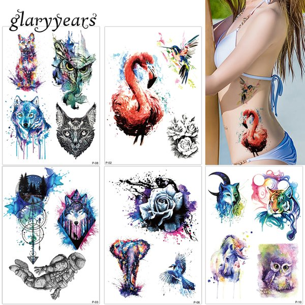 glaryyears 19 Designs 1 Sheet Colored Drawing Body Tattoo Flamingo Cute Cat Art Temporary Makeup Tattoo Sticker Fashion P Series