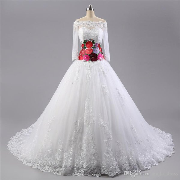 Real Photo ful Wedding Dresses With Flowers Long Sleeves Off The ...