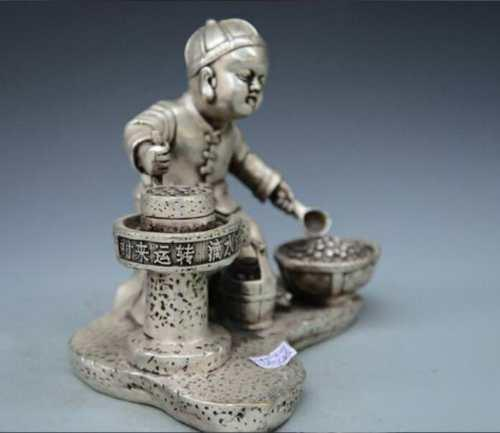 Collect China Old Bronze Silver Handmade Boy Child millstone labour Statue