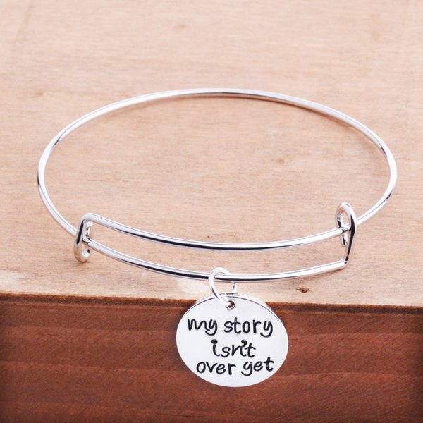 12 Pc/Lot My Story Isn't Over Yet Charm Inspirational Bracelet Jewelry Adjustable Friends Kids Graduates Bangle Wristband Gift