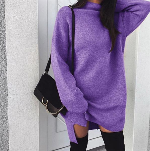 High Neck Sweater Dress Autumn Winter Warm Solid Color Loose Knit Dresses for girls Fashion Knitting Hoodie Turtlenecks Long Split Dress