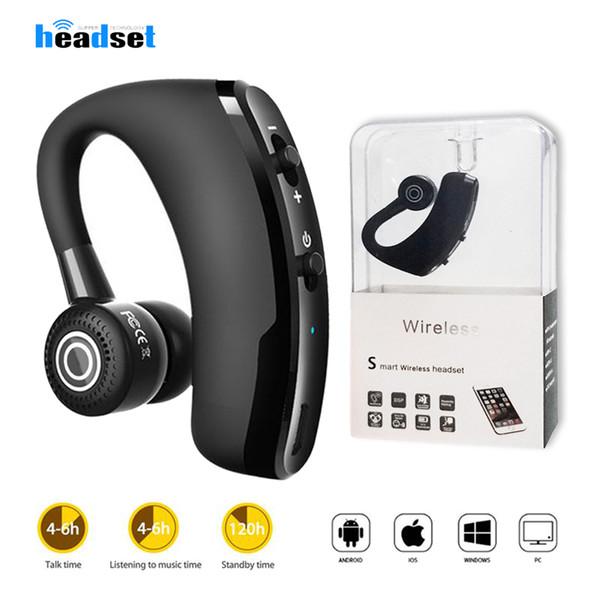 V9 V8 Auricular Bluetooth Manos libres Auriculares inalámbricos Bluetooth CSR V4.1 Control de ruido Auriculares comerciales con control de voz por micrófono