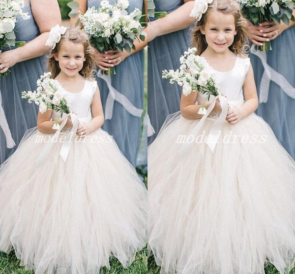 Princess Ball Gown Flower Girl Dresses For Wedding Jewel Floor Length Child Birthday Party Gowns First Communion Wear Girls Pageant Dress