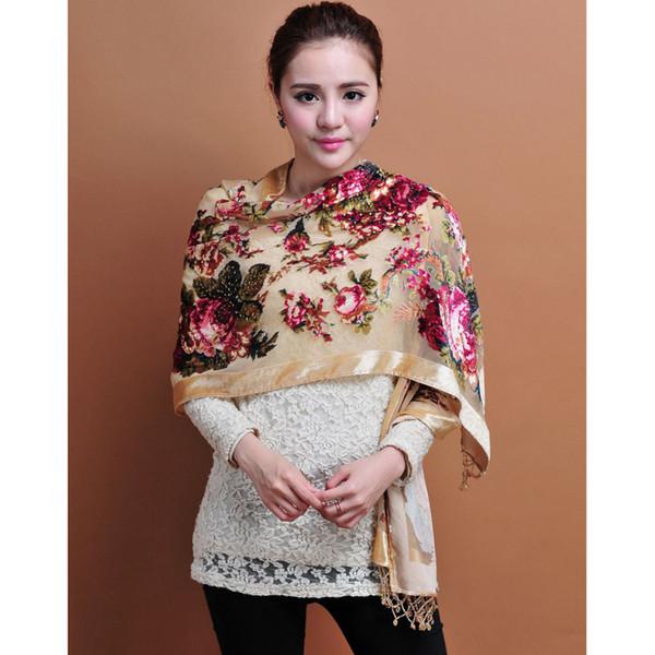 Chinese Women Velvet Silk Beaded Shawls Vintage Handmade Embroidery Scarves Scarf Long Fringe Pashmina Flower Cape Stole 1206