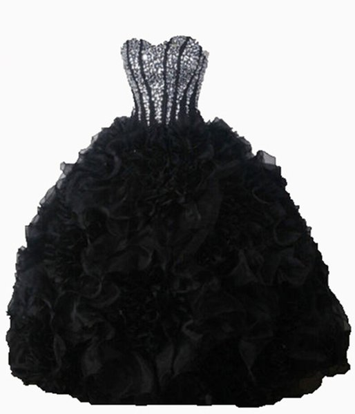 2018 Fashion Black Crystal Ball Gown Quinceanera Dresses With Sequined Organza Sweet 16 Dress Plus Size Lace Up Vestido De 15 Anos BQ08