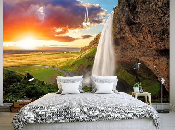 Acheter Vivant 3d Fond D Ecran Hd Montagnes Foret Coucher De Soleil Nature Paysage Fond Mur Fenetre Murale Papier Peint De 39 18 Du Yeye2000