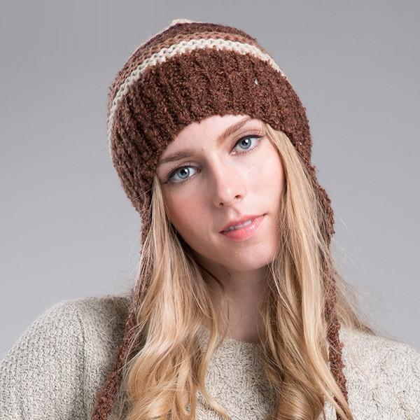 Senhora Elegante Chapéu De Malha Quente Senhoras Outono e Inverno Malha Chapéu Feminino Quente Saco de Cabeça De Lã Boné de Presente de Ano Novo B-8642