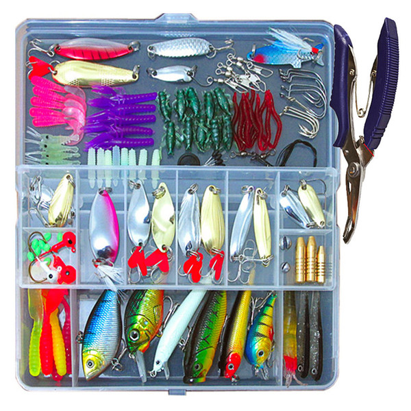 73/101/132Pcs Fishing Lures Set Mixed Minnow Popper Fish Lure Box Spinner Spoon Cebo Grip Hook Isca Artificial Bait Kit Pesca