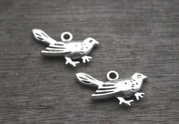 15 pz / lotto - Ciondoli per uccelli, ciondoli in argento tibetano anticato uccello antico 25x15mm