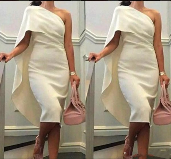 Cheap Gorgeous White One Shoulder Simple Tea Length Evening Dress Evening Gown Evening Dresses Cocktail Dresses