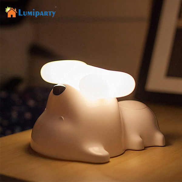 Lumiparty LED Night Light Touch Sensor Desk Lamp USB Rechargeable Puppy Dog Table Lamp for Bedside Living Room Baby Children