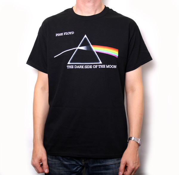 Camisa cor-de-rosa de Floyd T - lado escuro da lua (logotipo pequeno) 100% Gilmour oficial