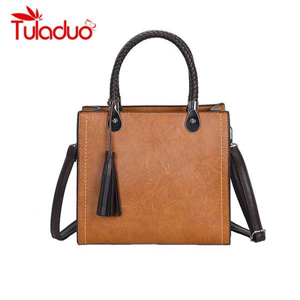 Tassel Decor Messenger Bag Women's Solid Shoulder Bags For Women 2018 Luxury Handbags Woman Bags Designer Tote Bag PU Leather