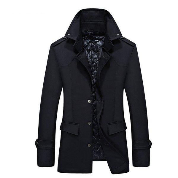 2018 Новый осень мужчины пальто повседневная однобортный Blazer мужчины куртка мода твердые куртка толстые белье и хлопок длинные пальто