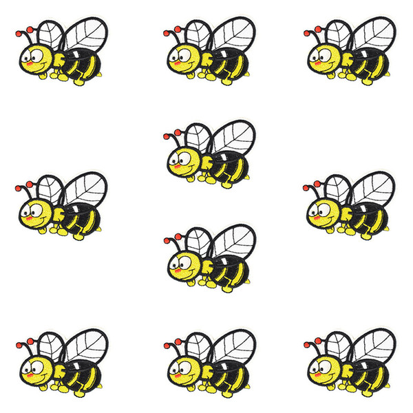 10 PCS Funny Bee Embroidered Patches for Clothing Bags Iron on Transfer Applique Patch for Jeans Sweater Kids DIY Sew on Embroidery Stickers