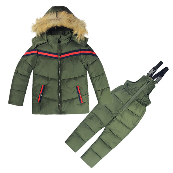 top popular Winter Kids Clothes Boys Girls Winter Down Coat Children Warm Jackets Toddler Snowsuit Outerwear +Romper Clothing Set Russian 2021