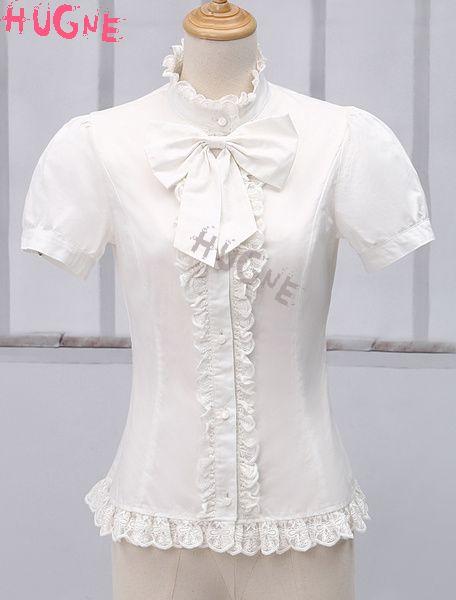 White Short Sleeves Pure Cotton sweet Lolita Blouse lace trim
