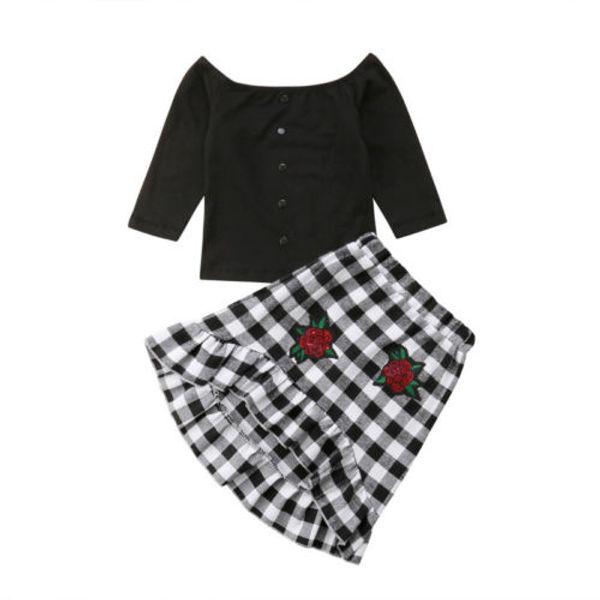 Kız Giysileri Üstleri T-shirt Kapalı Omuz Ekose Etek Sevimli Sonbahar Kıyafetler Set Çiçek Çocuklar Bebek Kız Giyim Pamuk 1-6 T