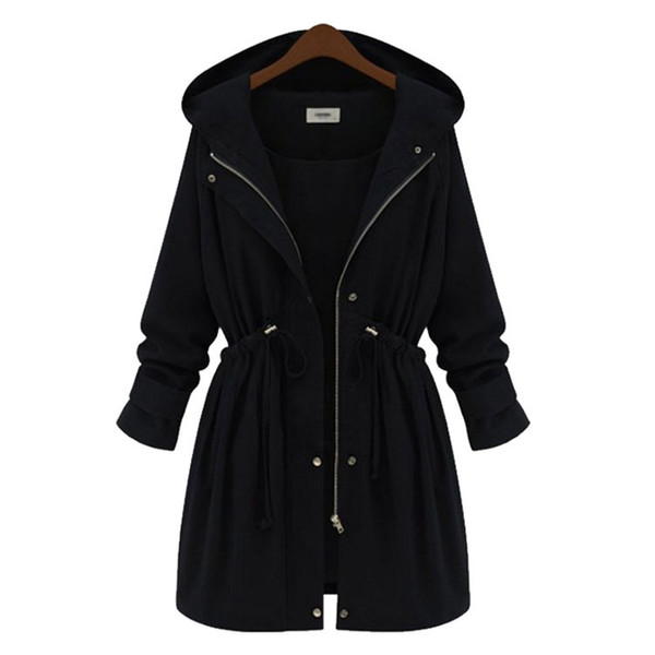 Young17 2018 Long Coat Women Plus Size Black Clothes Autumn Winter Hooded Casual Loose Overcoat Trench Coat Belt Outwear
