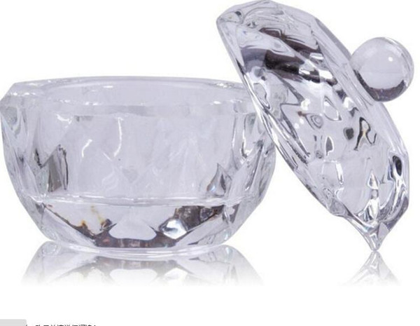 Nail Art Acrylic Crystal Glass Dish Bowl Cup with Cap For Nail Gilter Liquid Art Equipment Glass Cup Dropshipping