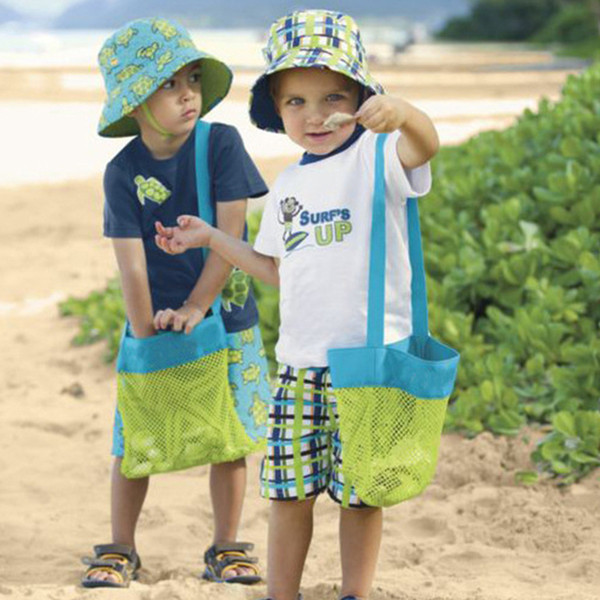 Hot Sell Kids Baby Sand Away Carry Beach Treasures Toys Pouch Tote Mesh Childrens Storage Bag BH136