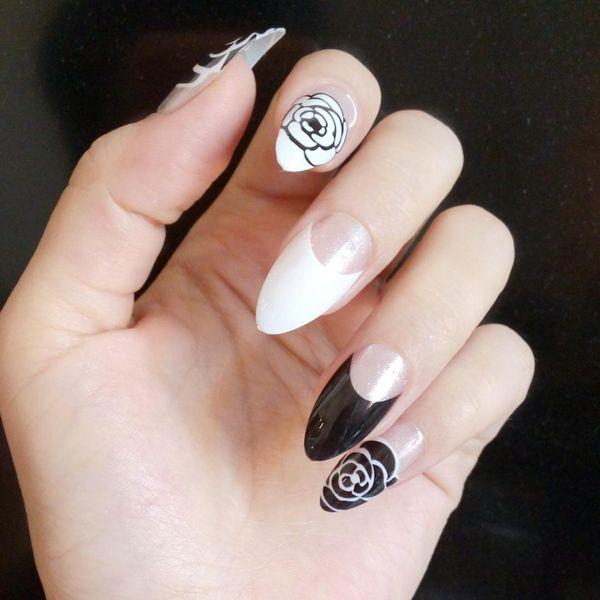 Clear French Fake Nail Shiny Black White Stiletto Nails DIY Rose Pattern Acrylic False Nail Tips Manicure Products 24Pcs