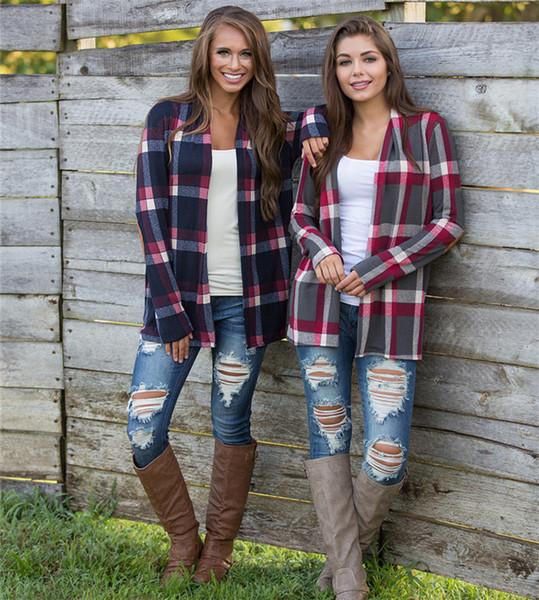 Cardigan plaid donna autunno irregolare stampato cardigan anteriore aperto cappotto allentato manica lunga patchwork maglione outwear giacca top t-shirt nuovo