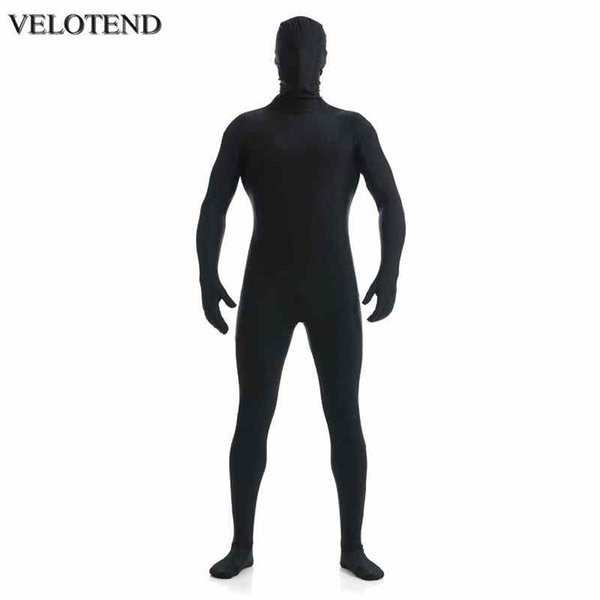 VELOTEND Mens Lycra Full Body Zentai Suit Custom Second Skin Tight Suits Spandex Nylon Bodysuit Halloween Costume for Men