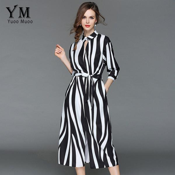 c72a843917db6 2019 YuooMuoo 2018 Summer Zebra White And Black Stripe High Street A Line  Shirt Dress Three Quarter Sleeve Long Tie Up Split Dresses From Vineger, ...