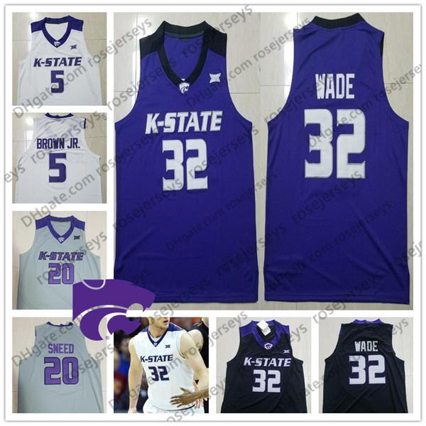 NCAA Kansas State Wildcats #20 Xavier Sneed 3 Kamau Stokes 2 Diarra 14 Makol Mawien white purple black College Basketball Jersey S-4XL