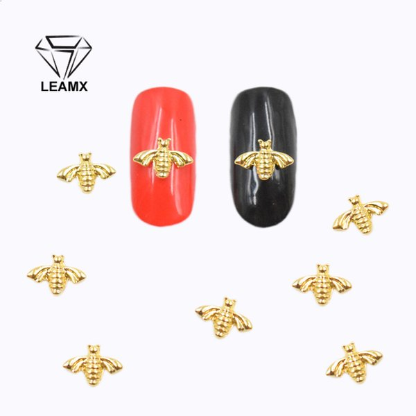 LEAMX 50 PCS/bag Golden Bee 3D Nail Art Decorations DIY Vintage Silver Beautiful Girl Charm Lovely Nail Stickers Sparkling