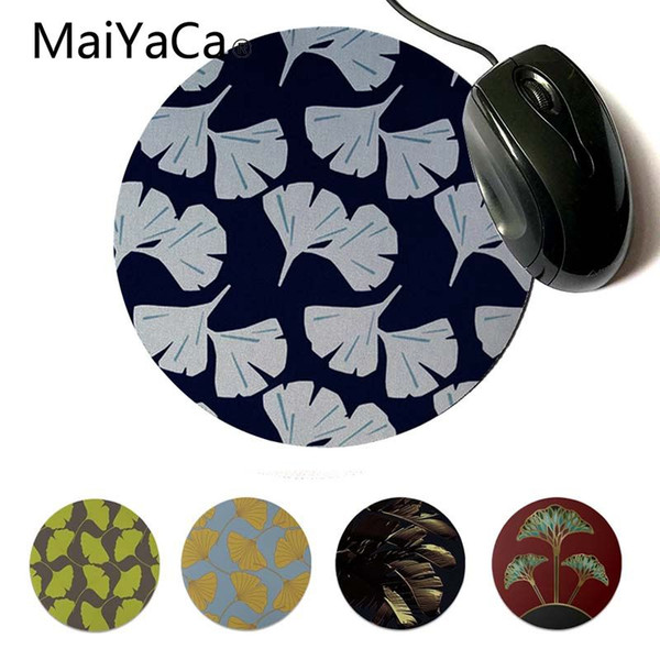 MaiYaCa Ginkgo Leaves, azul marino Vintage Gamer Speed Mouse al por menor Small Rubber Mousepad Design Gaming Computer Round Mouse pad