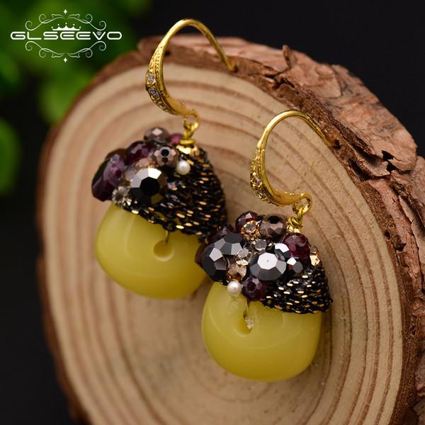GLSEEVO 925 Sterling Silver Natural Ceromel Yellow Stone Dangle Earrings For Women Tassel Drop Earrings Handmade Jewelry GE0473 S18101207