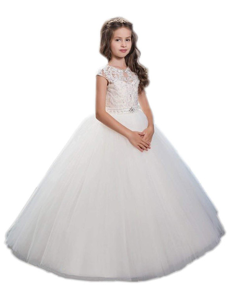Дети девушки кружева аппликация линии театрализованное платье тюль свадьба цветок девушка платье