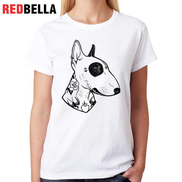 Women's Tee Redbella Tshirt Women Bull Terrier Tattoo Kawaii Dogs Punk Rock Funny T-shirt White Cotton Printed Casual Poleras De Mujer Moda