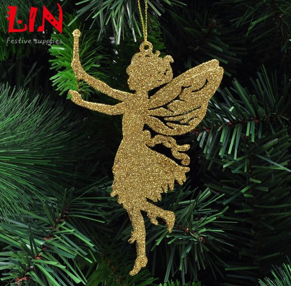 Christmas decorating supplies 14x9cm sticky powder angel enfeites de natal adornos navidad craft supplies hanging ornaments