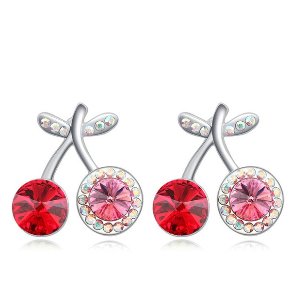 wholesale cherry crystal ear studs earrings with Crystals from Swarovski original fashion jewelry for women girl wedding gift 2018