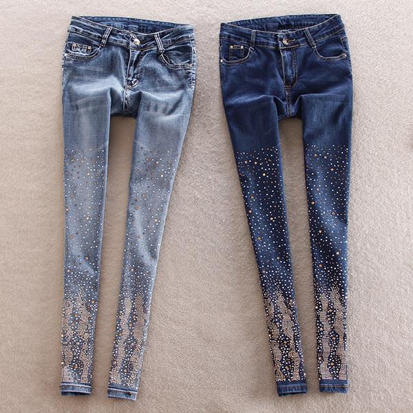Baumwolle Frauen Strass hohe Taille Denim Hosen Füße Bleistift Hosen plus Größe Bleistift lange dunkelblaue Jeans mit Strass