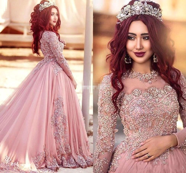 Ball Gown Long Sleeves Evening Dresses Princess Muslim Sequins Beaded Illusion Puffy Court Train Prom Red Carpet Runway Gowns Custom HY4138