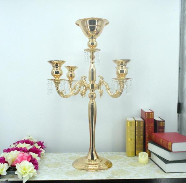 Argent hauteur 76cm or 5 têtes candélabres en cristal, bougeoir, pièce maîtresse de mariage, bol de fleurs bougeoir avec pendentifs SN1283