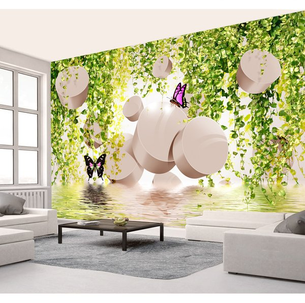 Customized Retail Vine Butterfly Romantic 3D TV Background Wall Floating In The Lake A Circle Of Colorful Butterflies Floating Murals