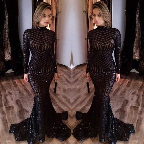 best selling Black Mermaid Evening Dresses High Neck Sequins Long Sleeves Long Prom Party Gowns Evening Wear Formal Evening Gowns BA4035